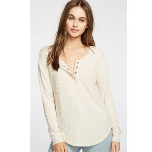 NWT- CHASER - Thermal Shirttail Henley Waffle Knit